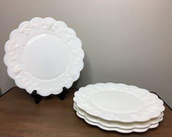 "Vintage Westmoreland Paneled Grape Milk Glass Set of 4 Dinner Plates - 10-3/8"""