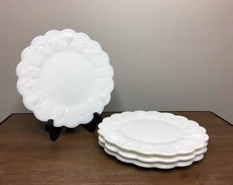 "Vintage Westmoreland Paneled Grape Milk Glass Set of 4 Luncheon Plates - 8-3/8"""