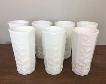 Vintage Westmoreland Paneled Grape Milk Glass Flat Iced Tea Tumblers - Set of 7