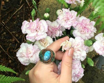 Labradorite Crystal Enchanted Forest Statment Ring • dew drops on fae fingers •