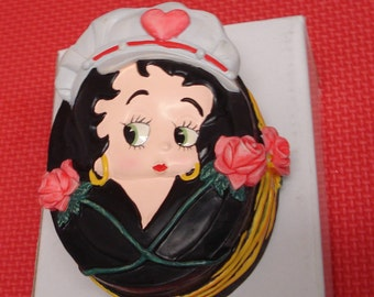 REDUCED***Betty Boop Oval 3D Trinket Box Roses Flames 1998 New in Box-Free Shipping in USA