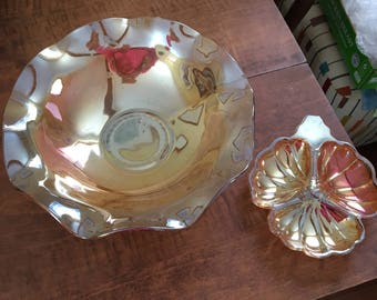 Carnival glass bowl and clover dish