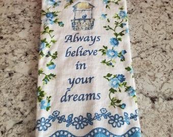 Hanging Kitchen Towel/Inspirational Kitchen Towel/Blue Kitchen Towel