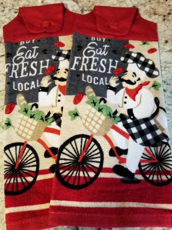 Red hanging kitchen towel set/Chef kitchen towels