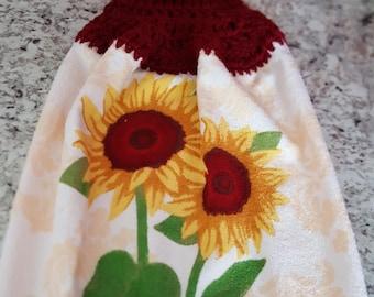 Crochet hanging kitchen towel, hanging kitchen towel, sunflowers
