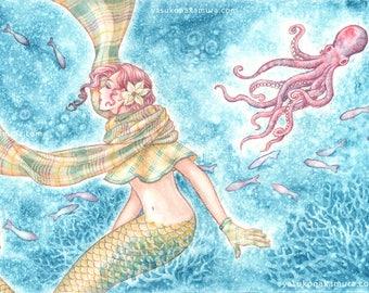 Illusia, the mermaid, Original Art Print
