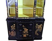CHIPPENDALE CHINOISERIE BREAKFRONT China Cabinet Bookcase Secretary Curio Desk