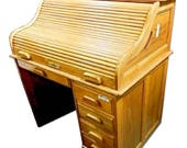 Roll Top Desk Writing Table Vintage Chest Vanity Secretary Server Drawers Modern