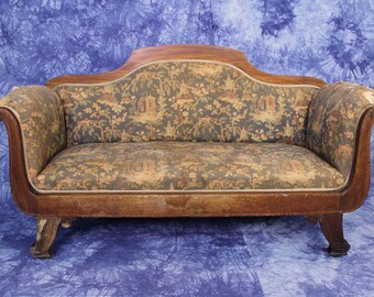 Merveilleux Quick View. Rare Early Antique Victorian Chinoserie Loveseat Settee Sofa  Bench Chaise Chair