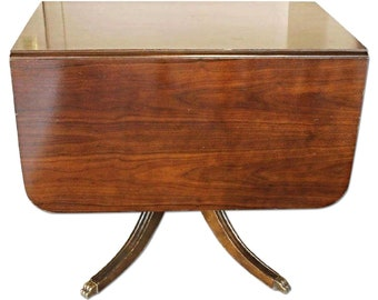 d64b7faed312 Fine Mahogany Drop Leaf Claw Foot Table Dining Console Side Sofa Server  Vintage