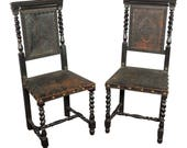 Rare Pair 18th C Baroque Ebonized Leather Chairs Antique Vintage Arm Bench Stool