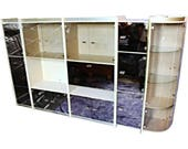 Stunning 140 quot L 5-piece Smoked Glass Display China Cabinet Bar Wall Unit Bookcase