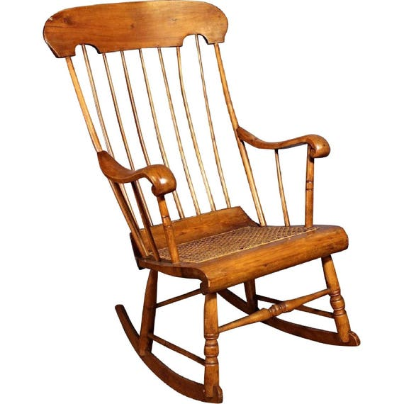 - 19th C Antique American Spindle Back Caned Seat Rocking Chair