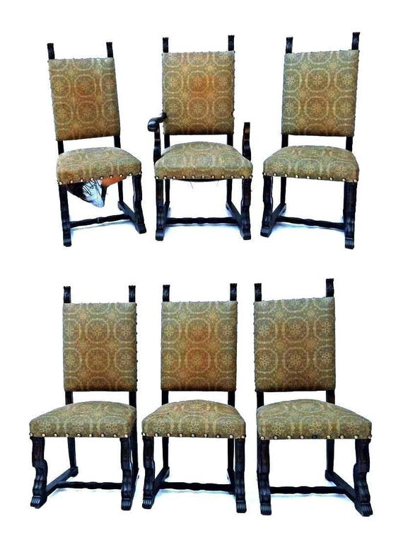 Cool Set Six 6 Spanish Style Mahogany Antique Dining Chairs Side Accent Armchair Rare Caraccident5 Cool Chair Designs And Ideas Caraccident5Info