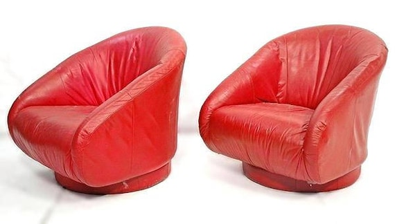 Wondrous Pair 2 Red Leather Lounge Chairs Barrel Back Armchair Mid Century Modern Club Unemploymentrelief Wooden Chair Designs For Living Room Unemploymentrelieforg