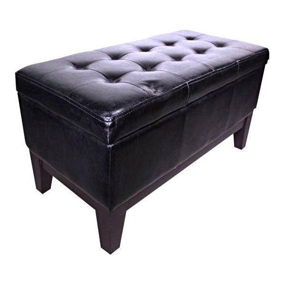 Awesome Black Faux Leather Ottoman Storage Bench Footstool Trunk Settee Sofa Box Storage Ncnpc Chair Design For Home Ncnpcorg