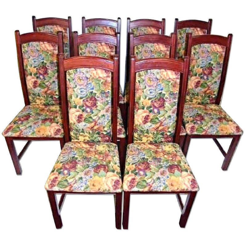 Set 10 Ten Tapestry Upholstered Side Dining Chairs Accent Vintage Set Table  Sofa