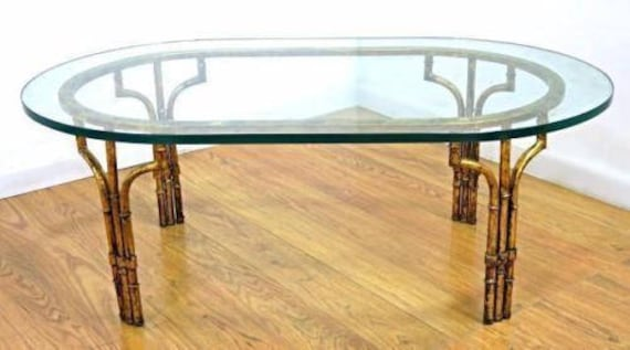 Faux Bamboo Mid Century Modern Oval Glass Top Coffee Table Etsy