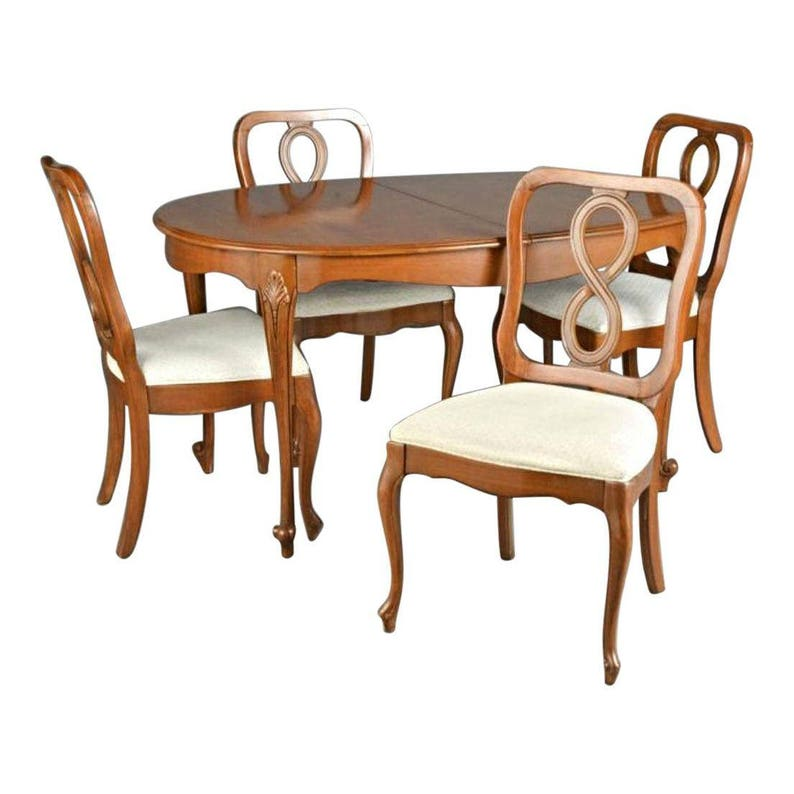 Fine Queen Anne Fruitwood Dining Set Carved Table Chairs