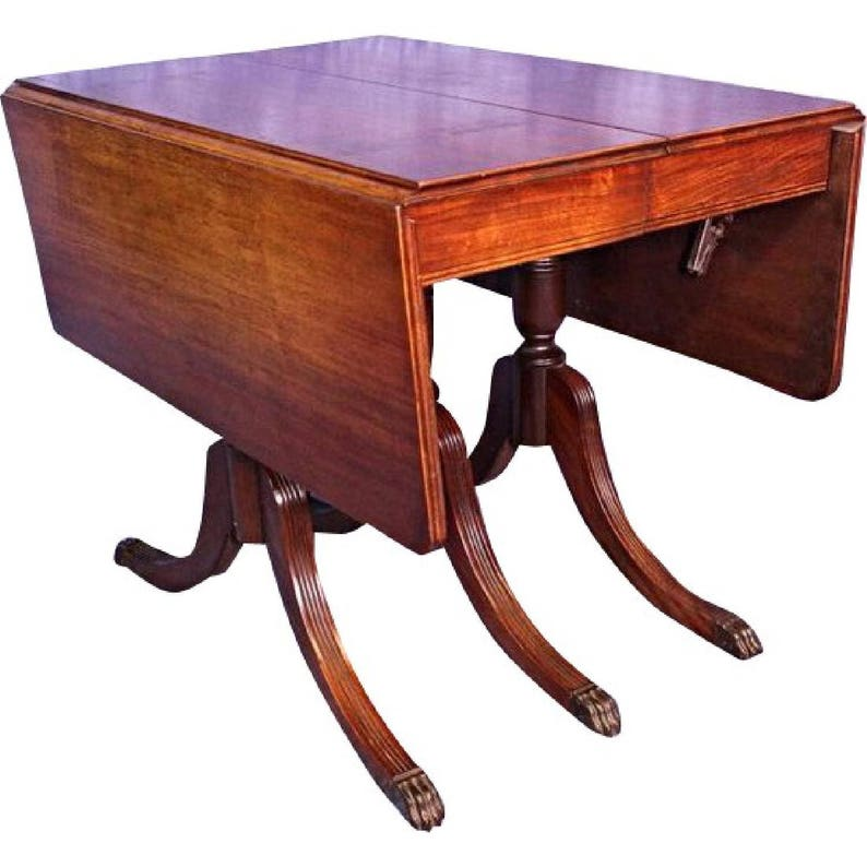 Duncan Phyfe Round Table With Drawer.1930 Duncan Phyfe Antique Mahogany Drop Leaf Dining Table Console Sofa Vintage