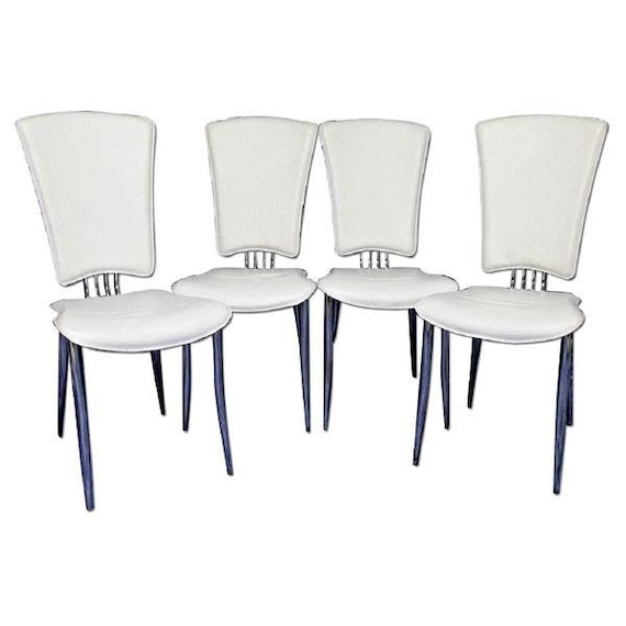 Wondrous Set 4 Four White Leather Dining Side Chairs Armchair Office Mid Century Modern Ibusinesslaw Wood Chair Design Ideas Ibusinesslaworg
