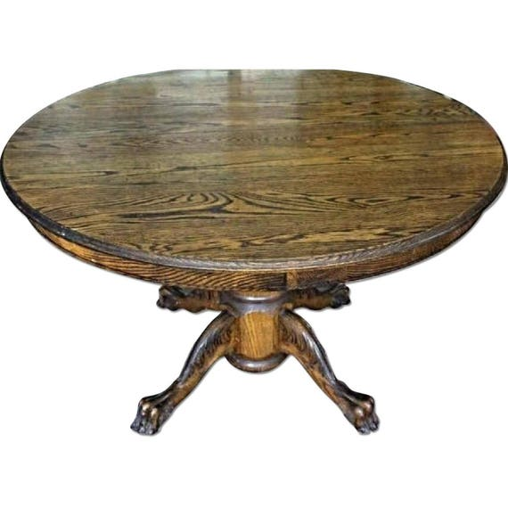 Rare Early American Oak Extension Claw Foot Round Dining Table Etsy
