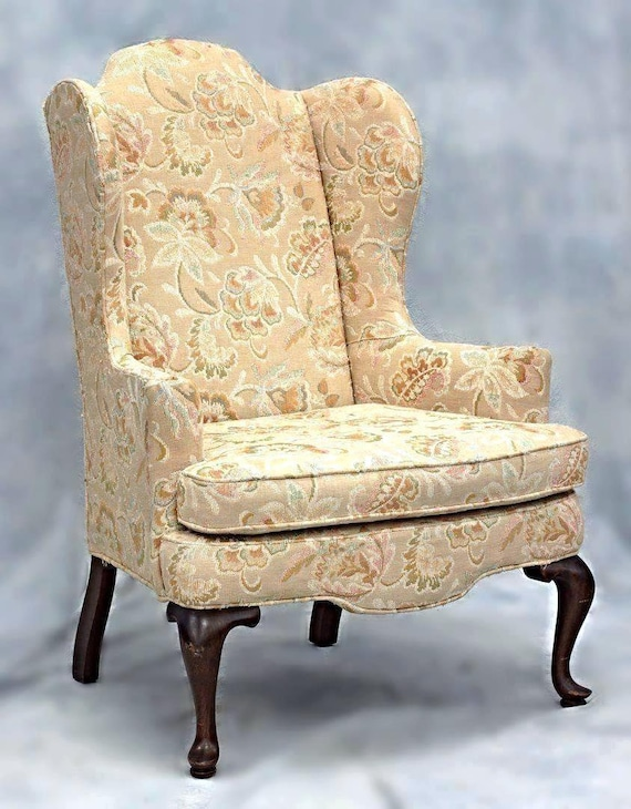 Awe Inspiring Woodmark Originals Queen Anne Style Wing Back Armchair Chair Side Floral Vintage Gmtry Best Dining Table And Chair Ideas Images Gmtryco
