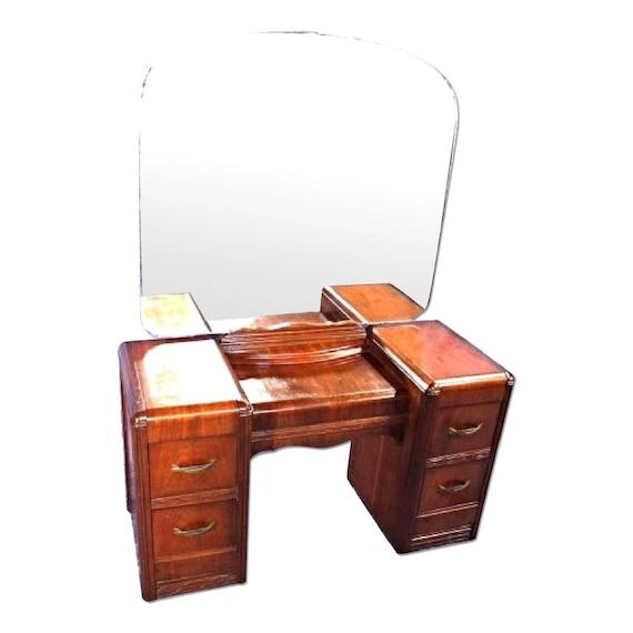 1930s Antique Art Deco Vanity Dresser W Mirror Buffet Chest Etsy