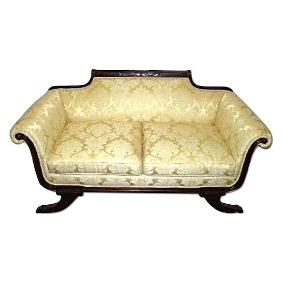 Empire Style Mahogany Settee Damask Silk Upholstery Sofa   Etsy