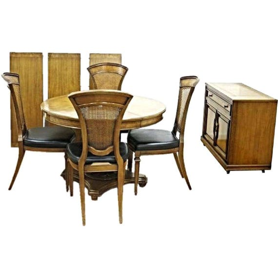 1960 Dining Set Round Extension Table Chairs Server Buffet Bar Etsy