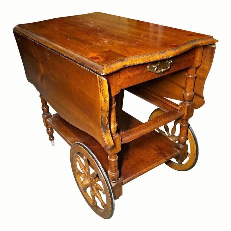 fd8b84b32239 Antique Drop Leaf Table Cart Tray Tea Bar Liquor Server