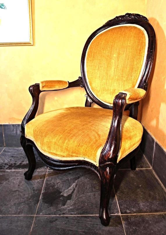Ottocento antico salone vittoriano Parlor accento Poltrona imbottita sedia