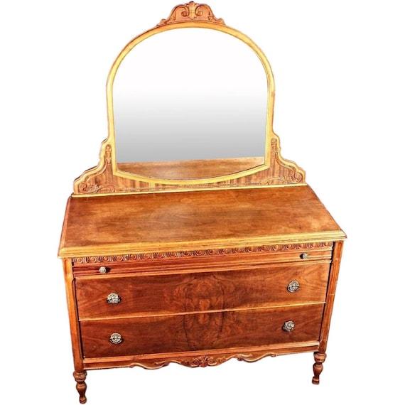 Antique Art Deco Veneered Dresser Mirror Vanity Vintage Chest Etsy