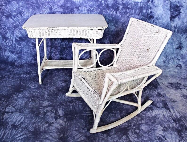 Amazing Rare Antique Victorian 19Th C Wicker Table Rocking Chair Set Patio Garden Vintage Lamtechconsult Wood Chair Design Ideas Lamtechconsultcom