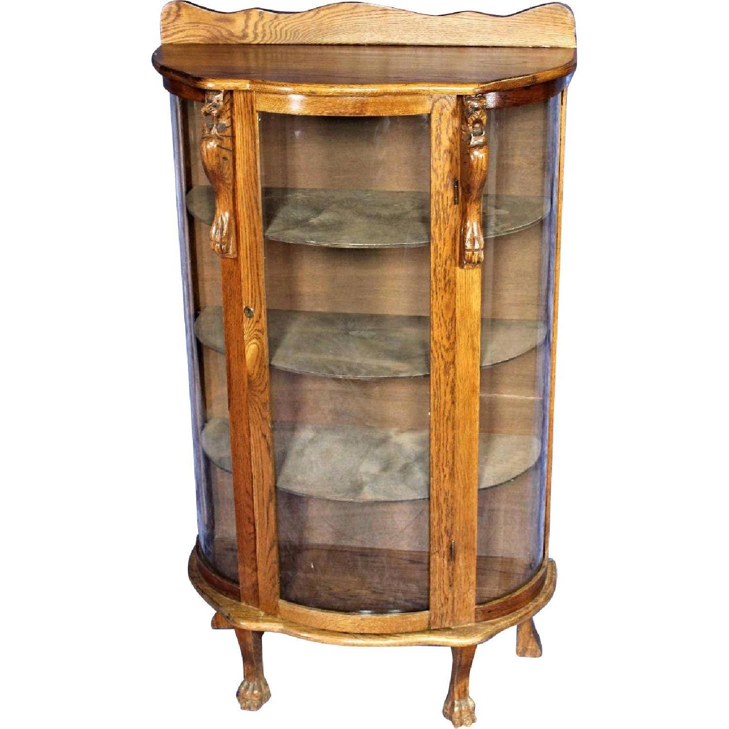 China Curio: 1900s Antique Oak Curved Curio Display China Cabinet