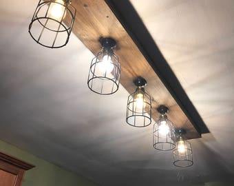 Wood lighting fixtures Diy Rustic Farmouse Beam Light 3 4 5 Or Light Fixtures Up To Feet Long Rustic Track Lighting Wood Beam Light Light Bulbs Included Etsy Wood Lighting Etsy