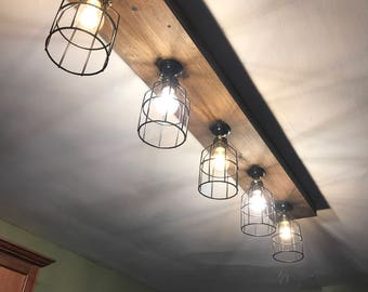 Rustic Farmhouse Beam Light -  Light Fixtures up to 8 feet long!- Rustic track lighting-  wood beam light-  BULBS INCLUDED Made in the USA