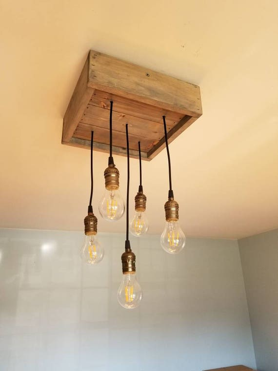 Rustic Pendant Light Box Chandelier Farmhouse Light Barn