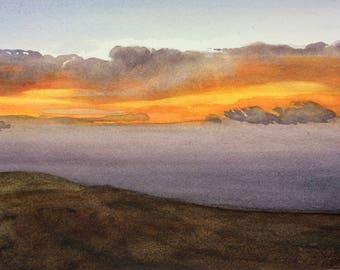 Summer on Exmoor Series:    Moor, sea, setting sun