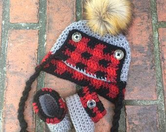 fd5dd8d112513 Crochet Plaid Baby Trapper Hat   Bootie Set- Crochet Trapper Hat - Baby Trapper  Hat - Baby Gift