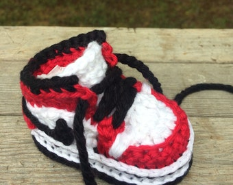 3a427cff8 Crochet Air Jordan Style Baby Sneakers - Crochet Baby Nike Shoes - Crochet  Booties - Baby Shower Gift