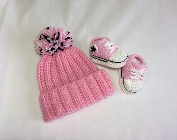 Crochet Baby Converse Set Crochet Converse Baby Shoes Hat & Bootie Set Baby Gift Set