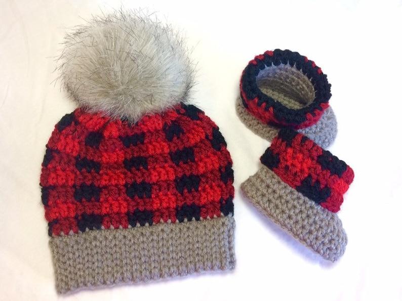 Crochet Plaid Baby Hat /& Bootie Set Buffalo Plaid Hat Baby Gift Crochet Plaid Baby Hat