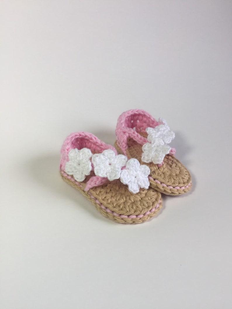 Crochet Baby Girl Flower Sandals - Crochet Baby Shoes - Baby Shower Gift