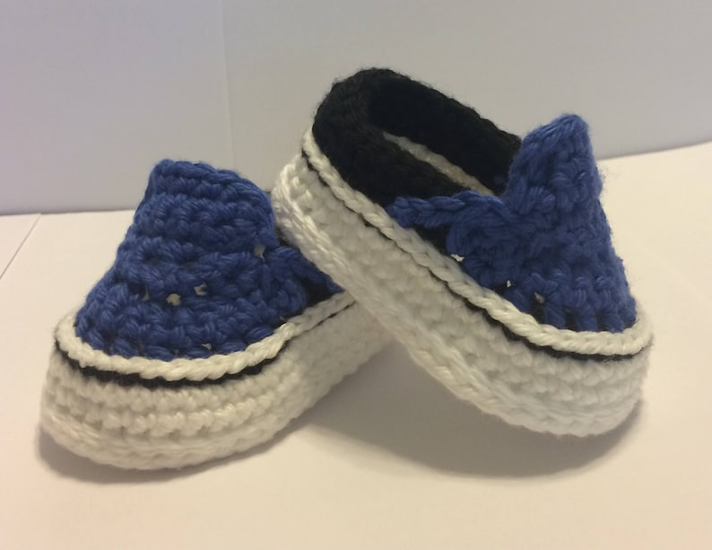 06cf48e3a3d987 Crocheted Vans Style Baby Shoes - Crochet Baby Shoes - Crochet Vans - Baby  Vans - Crochet Sneakers - Baby Shower Gift