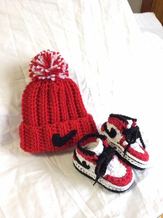 Crochet Baby Jordans Hat \u0026 Shoes Set