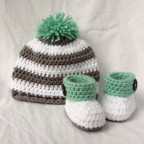 Crochet Baby Hat   Booties Crochet Baby Set Baby Booties  6f745676e66