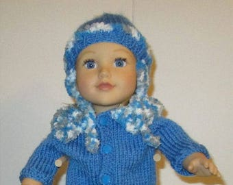 hand knit winter jacket hat and boots fits 18 inch doll american girl or boy toy
