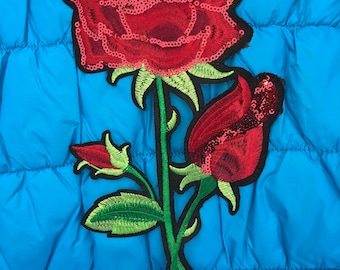 Beatiful Embroider Rose aplique Iron on it