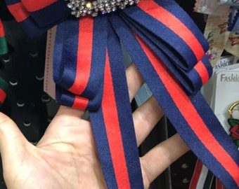 Fashion Bows  bee and diamond Navy blue .